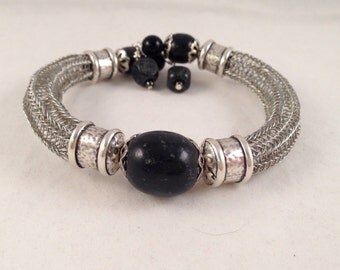 Antique Silver Viking Knit Bracelet with Black Accent Beads Wrap Bracelet One of a Kind