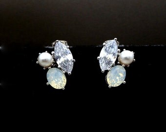 wedding bridal earrings jewelry gift prom party christmas pageant marquise oval white opal cubic zirconia pearl cluster rhodium post stud