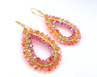 bridal bridesmaid party wedding gift Swarovski orange sun ab and padparascha ab teardrop crystal ab bead wire wrapped gold hook earrings