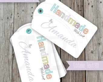Handmade by you gift tags, Printable Pdf, DIY Tags, Editable PDF, Hang Tags