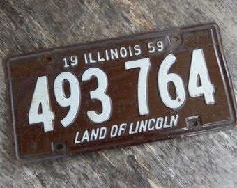 Vintage License Plates Illinois 1959 Rustic Brown and White Garage, Industrial, Barn, Man Cave,  Home Decor