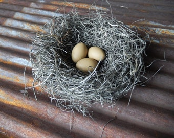 Bird Nest Rustic Handmade with Latte Eggs Home Decor by AMarigoldLife