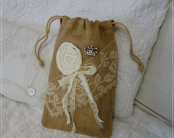 Burlap Hand Bag Purse Romantic Dance ViNtAgE Lace ribbon shabby fabric rose rhinestone crown pin