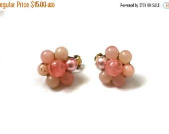 50% OFF SALE vintage earrings 1950s pink clip ons cluster bead flower setting