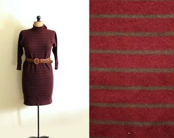vintage dress sweater 1980s burgundy maroon green striped winter clothing size medium m