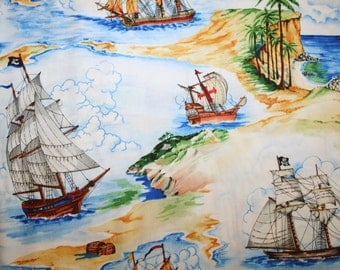 """Exclusively Quilters """"Barbary Coast"""" PIRATE SHIP FABRIC ~ 2 yards 29"""" piece"""