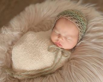 Knit Newborn Baby Bonnet, Photography prop hat, Baby Bonnet, Newborn Photo Shoot Prop by Cream of the Prop