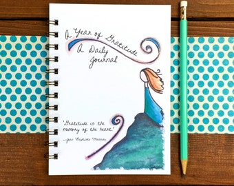 Daily Gratitude Journal, Hostess Gift, Daily Journal, One line per day Journal, One Year Journal, Journal with Quotes - 5 x 7 Spiral Bound