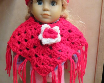 American Girl 18 Inch Doll Red and White Poncho and headband set