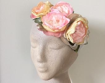 Pink Flowers Bridal Sash or Headband Garden Wedding, Backyard wedding, Fall wedding, Floral Halo
