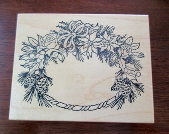 PSX K - 386 Floral Wreath rubber stamp mounted on wood - roses. frame, leaves, pinecones