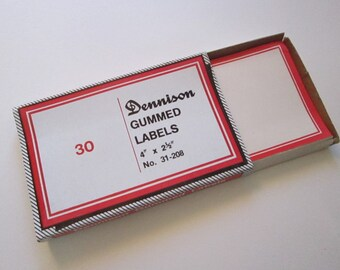 vintage DENNISON labels - self gummed - red and white - 2.5 x 4 inches - 30 labels with box - No 31-208