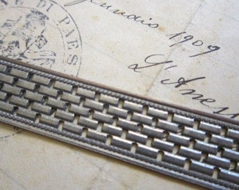 2 textured metal strips - BRICK pattern - reuse - 13mm x 6 inches each