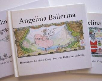 3 vintage ANGELINA books - circa 1983-1993, Angelina's Christmas, Angelina Ballerina, Angelina Ice Skates - Katharine Holabird