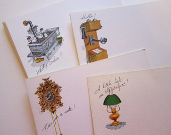 18 vintage postcards - retro, correspondence - Post A Note cards