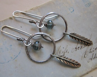 handmade earrings - sterling silver and moss aquamarine with feather charm - hand forged sterling