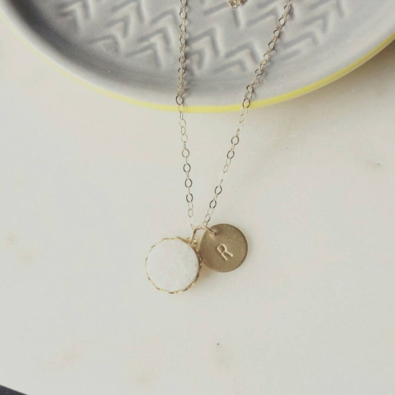Tiny White Druzy Necklace with Personalized Disc