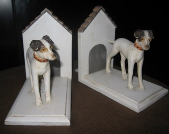 Vintage pair Doghouse hand-painted bookends Fox Terrier Hound Dog