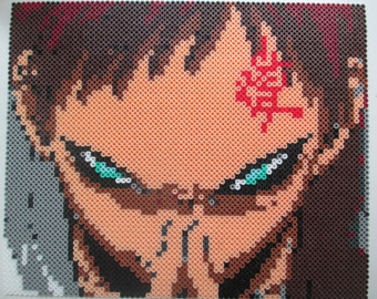Gaara, Naruto, anime. Naruto Shippuden, Gaara art, anime art, otaku, nerdy, geeky, naruto gifts, perler gifts, geeky art, nerdy art,