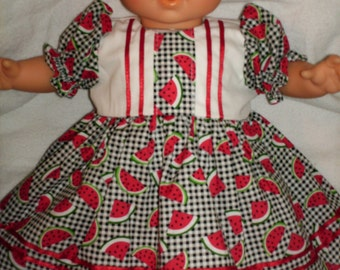"""15"""" 16"""" American Made Girl Baby Doll Clothes Black N White check Watermelon Doll Dress with panties fits 14"""" 15"""" 16"""" Baby Dolls"""