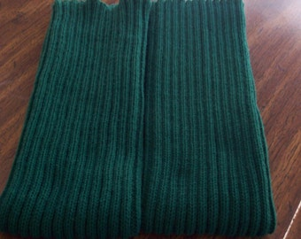 Knitted Leg Warmers Dark Green, Large Acrylic Leg warmers, Dance leg warmers, Boot Leg warmers, Large and Long Leg Warmers