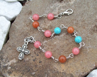 Mixed gemstone beaded chain bracelet with silver charm, Hippie Bohemian jewelry, Pink Malaysia Jade, Turquoise Magnesite, Red Aventurine