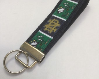 Hand made key fob notre dame university