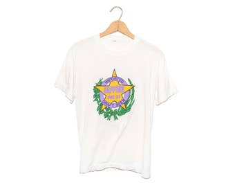 Vintage 80's Sapporo Imported Beer Yellow Star White T-shirt - Large