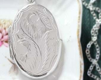 Large Oval Sterling Silver Locket Necklace, Double Side Pendant Photo Locket - Grandma's Jewelry Box