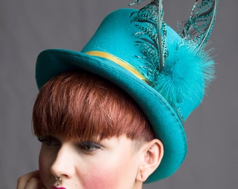 Top Hat Luxe Millinery Steampunk Women Turquoise English Millinery Menswear