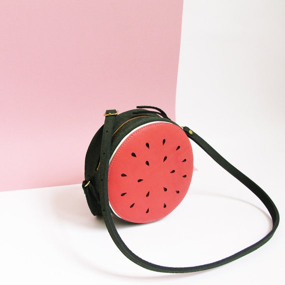 Leather bag, Watermelon bag, melon, festival bag, cross body, La Lisette, fruit bag, summer bag, melon bag