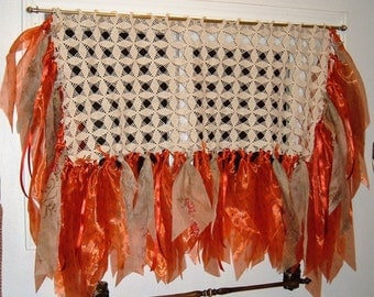 Small Window Curtain, Bathroom Size, Gypsy, Banner, Tatters, Bright Orange on Crocheted Piece, 34 x 22 Inches