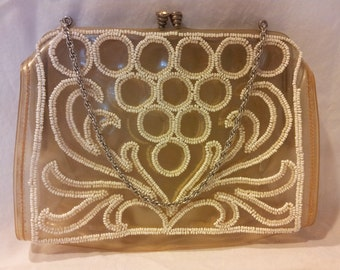 Vintage clear plastic purse with white beads rhinestone clasp, silver chain Made in France