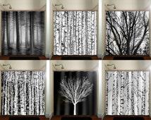trunk forest white birch trees shower curtain bathroom decor fabric kids bath window curtains panels valance bathmat
