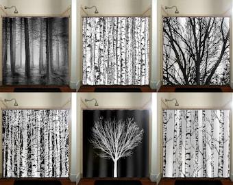 Trunk Forest White Birch Trees Shower Curtain Bathroom Decor Fabric Kids  Bath Window Curtains Panels Valance