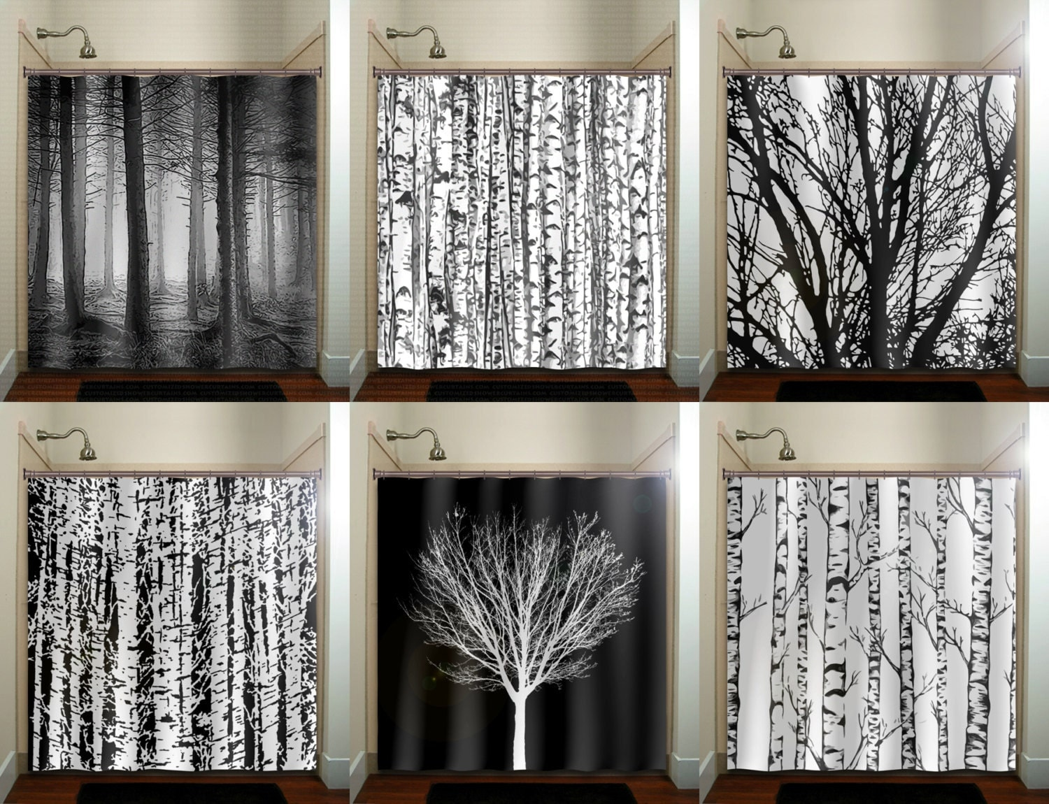 Birch Tree Fabric Window Panels - Trunk forest white birch trees shower curtain bathroom decor fabric kids bath window curtains panels valance