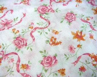Summer Floral Vintage Fabric - Pink Roses, Orange Lilies, Raspberry Ribbons for Flirty Aprons Clothing Home Decor BTY
