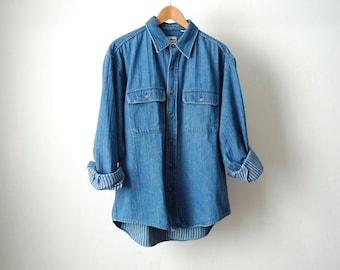 DENIM blue 90s TWIN PEAKS long sleeve cotton button up