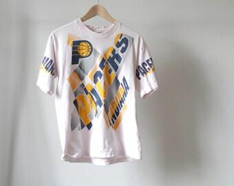 Indiana Pacers pink PRO player NBA vintage 90s reggie miller T-SHIRT summer baller