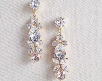 BELLA- Swarovski Bridal Earrings- Crystal Drop Earrings- Bridal Earrings- Crystal Earrings- Chandelier Bridal Earrings