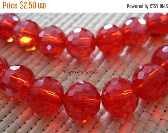 "30% OFF SALE 8"" Long (24 pieces) Chinese Crystal 10mm Faceted Round Beads"