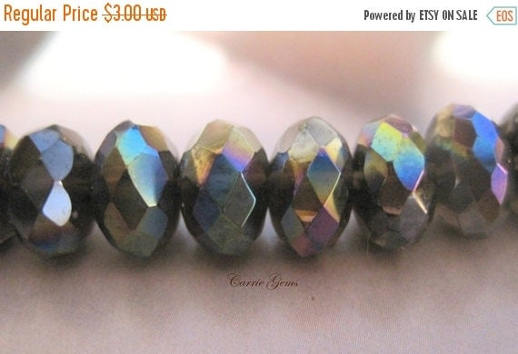 20% OFF ON SALE Smoky Quartz Fire Polished Faceted Rodelle 10mmx6mm, 10 pcs