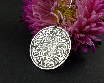 Etched silver necklace, sterling silver jewelry, Polish folk pendant