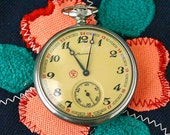 "Vintage Pocket Watch ""MOLNIJA"" Clipper Sailing Ship Working Mechanical Mens Pocket Watch from Russia Soviet Union USSR"