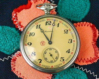 """Vintage Pocket Watch """"MOLNIJA"""" Clipper Sailing Ship Working Mechanical Mens Pocket Watch from Russia Soviet Union USSR"""