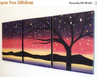 """oil landscape vivid beautiful original paintings on canvas abstract triptych painting wall art contemporary art tree of life 27 x 12 """""""