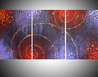 """huge painting large wall abstract triptych large impasto wall oversized art canvas gold silver Modern Palette Knife 54 x 24 """" 72 x 36"""" huge"""