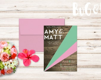 Rustic Pastel Geometric Wedding Invitation Country Chic Country Woodgrain Polygon Minimal Hipster Customize Barn Woodsy Wooden