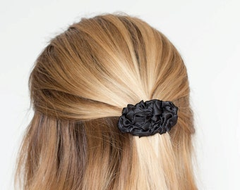 Black small fabric french barrette hair clip