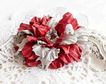 Red and white leather flower brooch